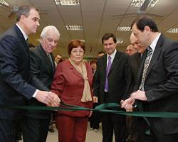 Gustavo Ick y Gerardo Zamora inauguración del BSE en el Parque Industrial